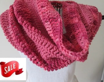 Crochet Cowl Scarf,Crochet Cowl Hood, Summer CLEARANCE EVENT Snood, Large Cowl -Pink Tones and Light Raspberry, Ready to Ship