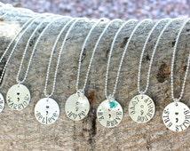 Inspirational Semicolon Necklace, Semicolon Jewelry, Awareness Jewelry, Suicide Awareness, Depression Awareness, Semicolon