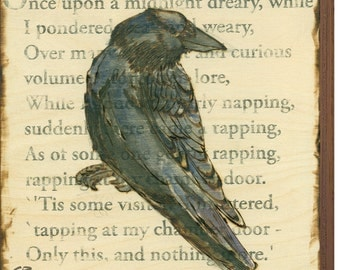 Edgar Allen Poe's The Raven Print on Wood