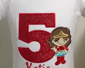 1st 2nd 3rd 4th 5th Baby Girl  Wonder Women Birthday Red, Gold, blue Embroidered t shirt tee