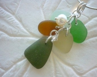 Cluster Sea Glass Necklace Jewelry Yellow  Beach Glass Sea Foam Pendant Sterling