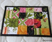 Bold Floral Quilted Mug Rug,  Mini Placemat, Quilted coaster