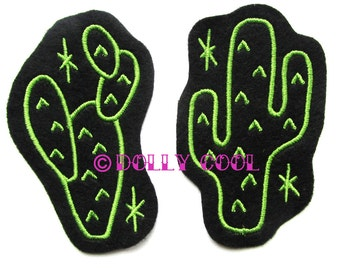 Cactus patch Pair of sew on in Green by Dolly Cool