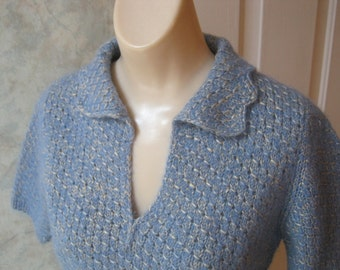 80s Short Sleeve Sweater Large Knit Top Light Blue Pullover