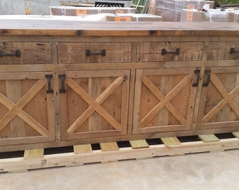 YOUR Custom Made Rustic Barn Wood Entertainment Center, Bar Vanity, Credenza or Sideboard Dresser or Cabinet