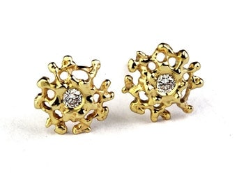 CORAL 14K Gold Earrings Posts Small, Gold Diamond Earrings, Small Diamond Earrings Studs, Gold Stud Earrings, Small Gold Posts