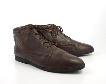 Granny Boots Vintage 1980s Ellemenno Brown Leather Lace Up  Women's 9 1/2 M