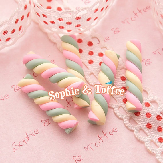 Colorful Polymer Clay Candy Cane - 7pc