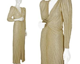 vintage 1980s gold sunburst pleat Hollywood Regency gown, metallic lamé, puckered shoulders, plunging V-neck, golden Oscar dress, size XS