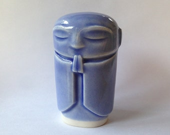 "NEW - ""ink"" blue glazed Jizo statue"