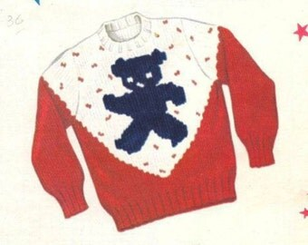 1940s Knitting PATTERN for Child sz 2 4 6 with Teddy Bear pullover sweater  Knit O Graf 805 a PDF instand download