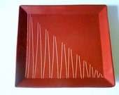 Modernist Royal Haeger Larry Laslo Brown Pottery Sgraffito Lines Plate