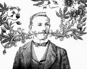 Passion Flower Dreamer I Fine Art Print Black and White Mustache
