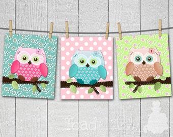 Set of 3 Patterned Sweet Little Owls Girls Bedroom Nursery 8 x 10 ART PRINTS