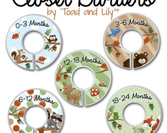 CLOSET DIVIDERS Woodland Forest Friends Kids Bedroom and Baby Nursery Art Decor CD0018