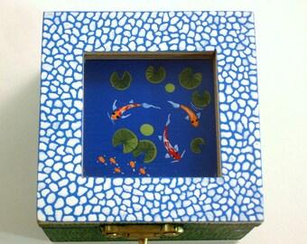 OOAK 3D art painting-jewelry storage-painted wood botanical trinket stash box-treasures-keepsake-collectibles-ooak best friend gift-koi pond