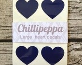 24 large Navy heart stickers, Navy heart decals, Navy heart envelope seals, for packaging, gift wrapping or wedding invitations