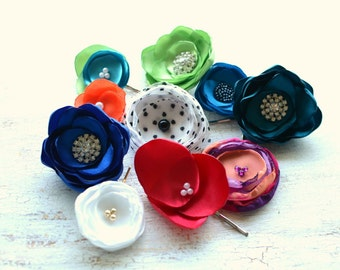 HUGE SAMPLE SALE- Floral hair accessories, fabric flower bobby pins, hair pins, fall fabric flowers, floral hair jewelry- 10pcs- set 23