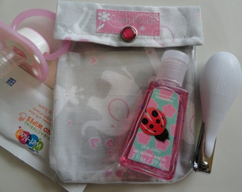 Small Ouch Pouch Clear First Aid Organizer for Diaper Bag Purse Day Care Trips (4x5 Jungle Hearts and Kisses Fabric) Baby Shower Under 10