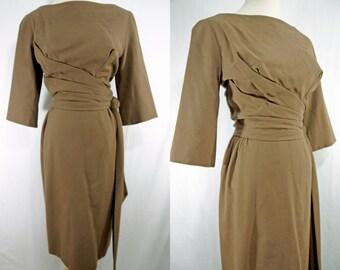 1960s Michael Novarese Wiggle Dress Mocha Wool Silk Long Sleeve Boat Neck Small Medium Designer