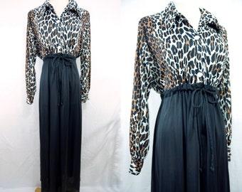 1960s Butterfield 8 Dressing Gown Loungewear Leopard Print Button Collar House Dress Maxi