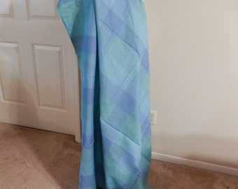 Fabric - turquoise, seafoam linen plaid