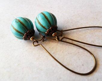 Fluted Turquoise Earrings on Brass Kidney Hooks