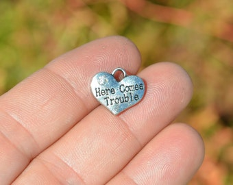 5 Silver Here Comes Trouble Heart  Charms SC3300