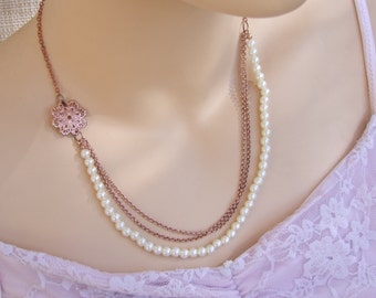 Rose Gold Necklace,Bridal Pearl  Necklace, Multirow Necklace, Geometric Pendant, Bridal Necklace, Delicate Necklace, Wedding Jewelry