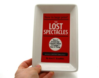 Gift for book lover, reading, teacher, eye glasses holder, glasses tray, Lost Spectacles, Books, reader library, librarian
