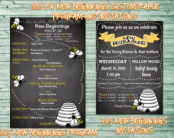 2016 LDS Young Women New Beginnings Invitations and Program