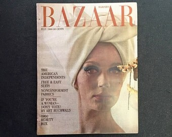 Harper's Bazaar July 1960 Issue - Welcome to the 60s Chic - Andy Warhol Illustrations Cecil Beaton Vintage Advertising Designer Fashion
