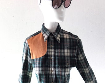 Vintage Ralph Lauren Polo Green Plaid Wool Hunting Shirt w/ Suede Patch - 1970s 1980s Girl's size 10 Women's size 0 2 - Garden & Gun Chic