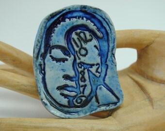 ceramic cabochon face cab little clay mask pendant cameo SALE