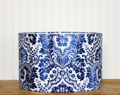 Lamp Shade - Lampshade - Drum Shade - Pendant - Damask Blue and White - Cottage Lighting