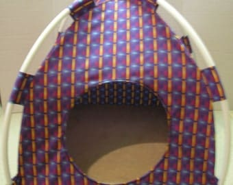 Large Handmade Purple Squares Print Fabric Pup Tent Pet Bed for cats/ dog/ / toy box/  Doll House