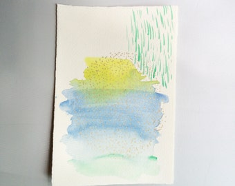 Painting : Yellow // Blue // Green // Geometric // Gold small original abstract watercolor painting //daily doodle // tiny art // artwork //