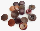 16 Antique Vegetable Ivory Buttons - Burgundy Wine Vintage Early 1900s