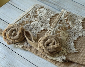 Burlap Christmas Stocking; Hand made Burlap Rose; Vintage Lace; Fully Lined Handmade; Natural color; Stocking Set
