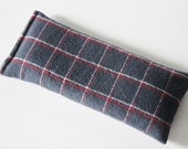 Plaid Eye Pillow, Organic Lavender and Flaxseed, Classic Navy Blue Red and White Flannel, Cozy Hot Cold Pack