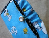 Snoopy Woodstock card case. Blue Organizer. Cards.Coupons. Thank you.Teacher.Sister.Mom