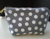 Gray White Dots Pouch.Make up Organizer. Cotton Polka Dot Bag