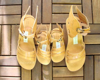 Hermes Wedges Mommie & Me  - Natural Greek Leather sandals-gladiator sandals - sandals with wings, winged pumps