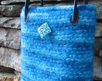 Turquoise Wool Purse Hand Knitted Felted Custom Lined