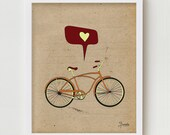 Bicycle Art Print, Giclee Print Bike Poster, Antique Bike Print Wall Decor, Retro Cycling Giclee Print, Digital Illustration Bicycle