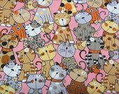2552A - Lovely Cat and Chick Fabric in Pink, Kawaii Fabric, Cute Animal Fabric, Adorable Cat Fabric