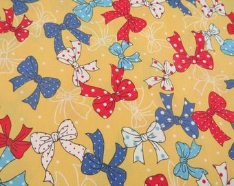 2613C - Sale - Lovely Tiny Dots Bowknot Fabric in Yellow