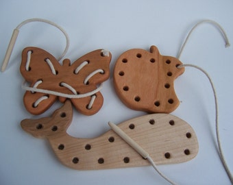 Butterfly, Apple, and Whale Lacing Toys