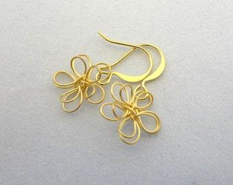 Small Gold Wire Flower Earrings