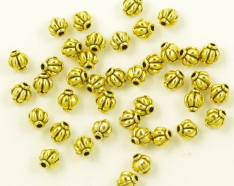 Round Fluted Antiqued Gold Plated Pewter Beads 6mm - 25
